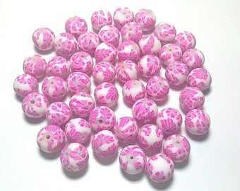 20 Fimo Polymer Clay Round Beads white fuschia  flowers beads 12mm