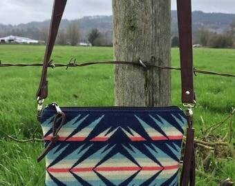 Crossbody Messenger Purse // Navy Turquoise Pendleton Wool Brown Chap Leather // Rosebud Originals