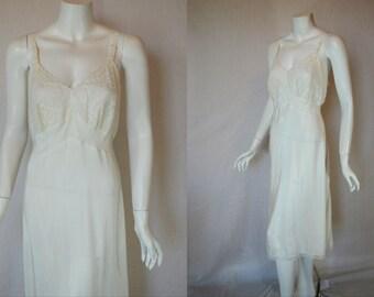 1950s Artemis White Wedding Rayon Blend Slip, 36, Medium, Large