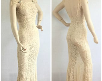 1930s vintage Old Hollywood ivory lace wedding dress / jacket- 30s off white sheer bias cut floor length dress- small
