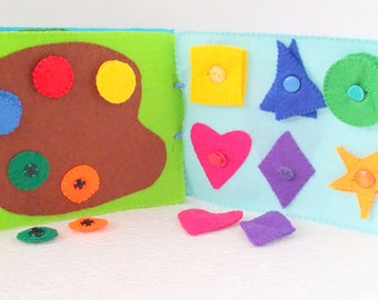 Gift for Toddler, Quiet Book Fine Motor Skills, Preschool Book, Counting Sorting Recognizing Colors and Shapes, Travel Book, Montessori Toy