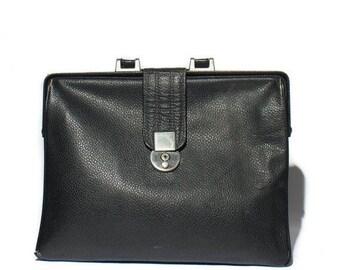 50% OFF Sale 1960's Black Pebbled Leather Attache Briefcase Portfolio Bag