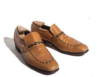 SALE 10 AA/B | Nettleton Loafer Carmel Leather Dress Shoe with Woven Toe Details