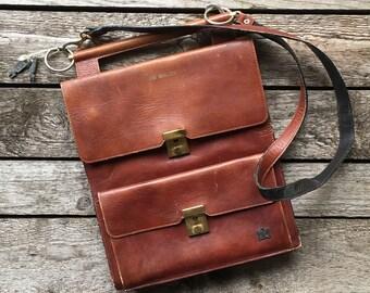 Vintage Monogramed Leather Shoulder Bag Small Messenger Bag iPad Bag