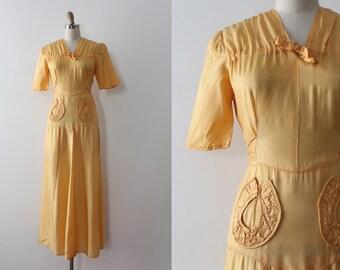 vintage 1930s dress // 30s yellow orange long dress
