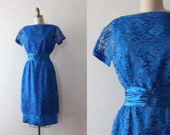 vintage 1960s dress // 60s blue lace dress set