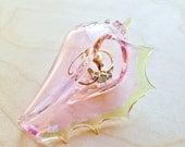 Ring Holder Dish, Necklace Pendant Organization, Hand Blown Glass Seashell, Pink