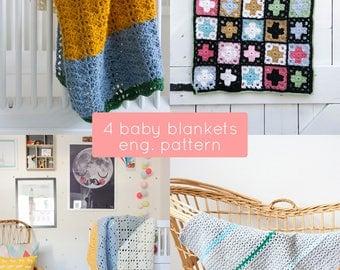 4 crochet baby blankets ENGLISH patterns