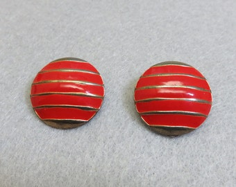 Red and Gold Enamel  Button Style Clip On Earrings