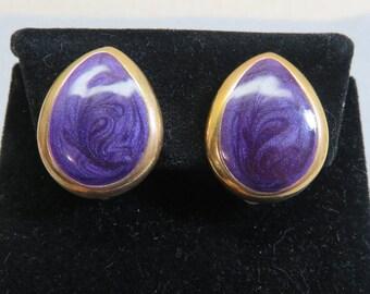Vintage Purple Enamel Teardrop Clip On Earrings