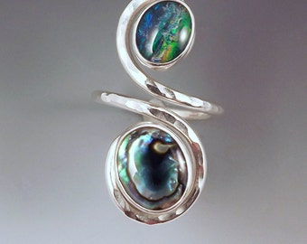 Opal and Abalone - Stunning Color- Deep Ocean- Hammered Sterling Silver- Adjustable Swirl Ring
