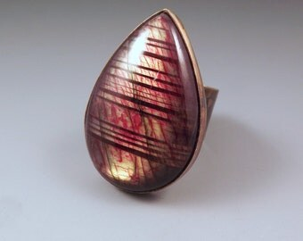Red Labradorite- Amazing Golden Fire- Merlin's Gold- Multi Color Swirl Patina- One of a Kind- Metal Art RedPaw Statement Ring