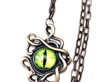 steampunk octopus dragon's eye high quality stainless steel antique copper necklace- unisex