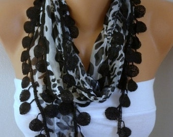 ON SALE --- Black Leopard Print Cotton  Scarf-Fall Shawl-Cowl,Bridesmaid Gift,Gift Ideas For Her,Women Fashion Accessories