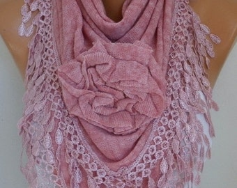 ON SALE --- Dusty Pink Knitted Floral Scarf, Shawl Cowl Lace Bridesmaid Gift Bridal Accessories Gift Ideas For Her, Women Fashion Accessorie