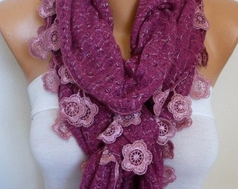 ON SALE --- Crimson Glory Ruffle Knitted Scarf, Fall Winter Lace Scarf.  Shawl Scarf Flower Scarf  Cowl Scarf,  Gift For Her Women's Fashion