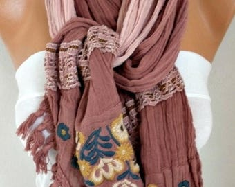 ON SALE --- Milky Brown Ombre Embroidered Scarf,Fall Scarf,Christmas Gift Winter Scarf Shawl Cowl Scarf Gift Ideas for Her Women Fashion Acc