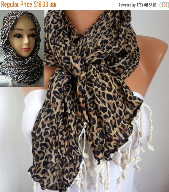 ON SALE --- Leopard Scarf  Oversize Scarf  Head Scarf Cotton Scarf Cowl  Head cover  woman headband scarf Gift Ideas For Her Women Fashion A