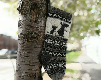 Knitted Mouse Christmas Stocking Pure Wool Fair Isle Grey Holiday Sock Handknit Unique Xmas Decor (Ready to Ship) PWG