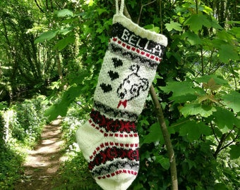 Dog Christmas Stocking Knitted Personalized Fair Isle Xmas Knit Sock (Made to order)