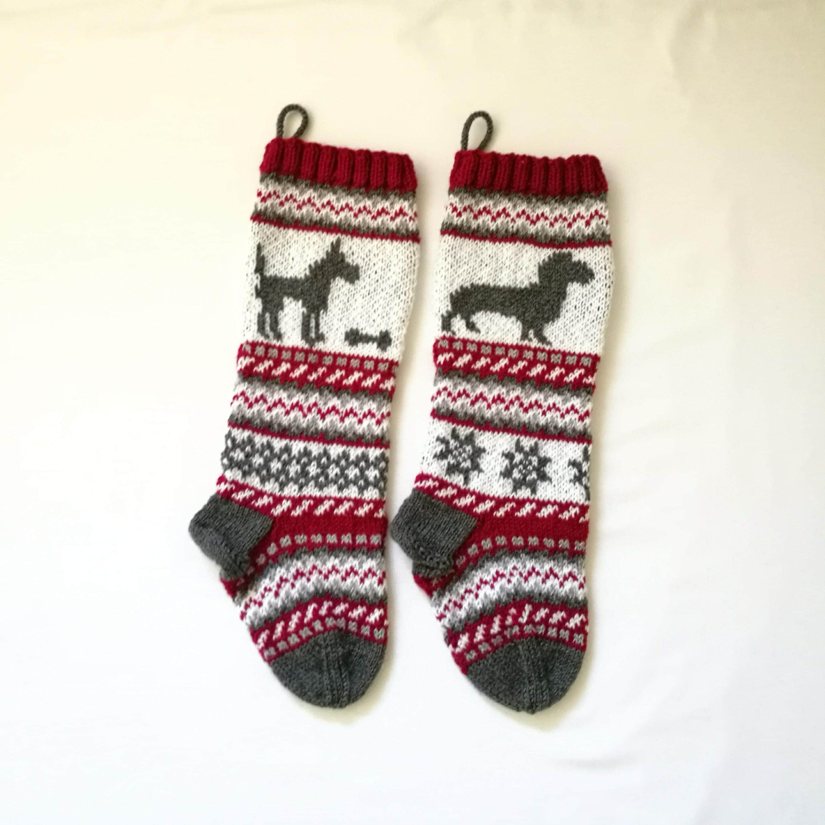 Pattern dog christmas stockings stranded knit dog santa sock for pattern dog christmas stockings stranded knit dog santa sock for dog fairisle dog knitting pattern dog pdf pattern bankloansurffo Choice Image