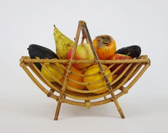 Vintage French Fruits Basket Made of Wood and Rattan