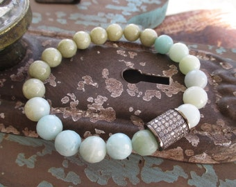 Winter inspired crystal stretch bracelet - Blizzard - neutral blue green semi precious stone eco chic boho by slashKnots