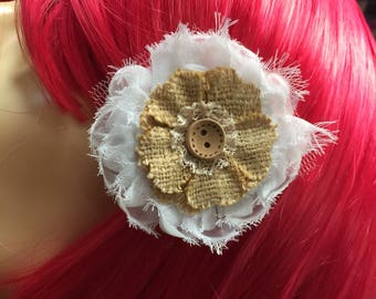 Beige Flowerand Button Hair Clip Facinator