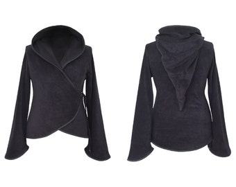 Plain Fleece 'Azimae' Jacket. Positively Pixie Hood/Sidhe Sleeves