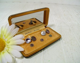 Antique Abalone Stud Buttons & Cuff Links Set in Original Jewelry Display Box - 5 Pieces Krementz Heraldic Jewelry Farrington Leather Case