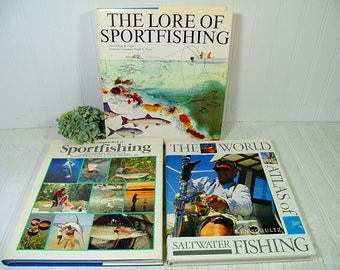 Set of 3 Very Large Sportfishing Books - Vintage Fishing Books Collection of 3 Coffee-Table Size Books - Saltwater Fishing & Sportfishing