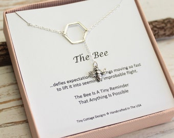 Sterling Silver Bee Lariat Necklace with Inspirational Sentiment Card