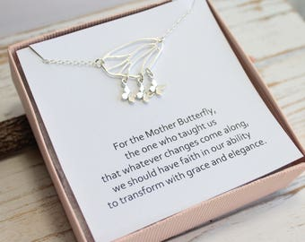 Sterling Silver Mother's Butterfly Family Tree Necklace on Sentiment Card... Choose How Many Babies