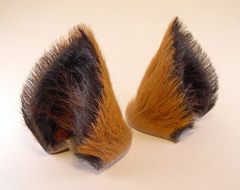 Brown and Black Fur with Brown Fox Hair Leather Wolf Dog Fox Ears Inumimi Kitsune Fairy Cosplay Furry Goth Fantasy LARP Costume Pet Play