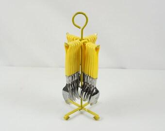 Retro yellow flatware set / Vintage flatware set/ Service for six / Flatware set with stand/ Retro kitchen silver ware set