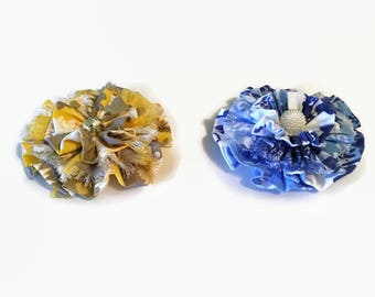 Two Shabby Fabric Flowers, Flower Supply, Headband Flowers, Pin Flowers, Supply, Print Shabby Flowers
