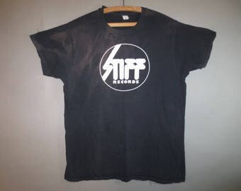 Vintage 1980's, Stiff Records T Shirt // Black with White Screen Print // Lots of Fading...XL