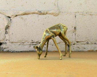 Vintage Brass Deer, Gold Statuette Figurine Statue Grazing Doe, Mid Century Style Home Decor