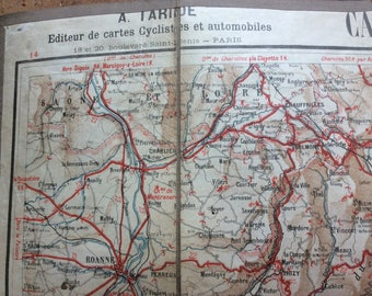 Vintage French Cyclist  and Automobiles Cloth Map of Lyon and the Alpes