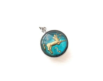 Sagittarius Bubble Glass Charm in Sterling Silver Setting - Vintage Zodiac Jewelry