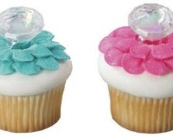 12 Diamond Ring Cupcake Cake Rings Birthday Party Favors Cake Topper