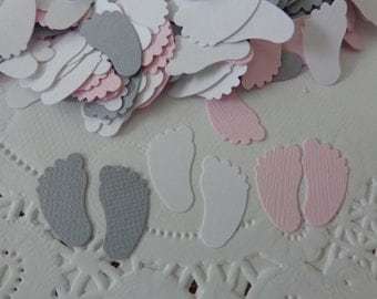 """Pink Grey and White Baby Feet Confetti - Die Cuts - 600 Baby Feet - 3/4"""" Table Scatter - Pink and Gray Baby Girl Shower Decorations"""