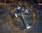 Vintage French Crucifix Cross Pendant 1930's Ebony Wood and Nickel Silver Religious Jewelry