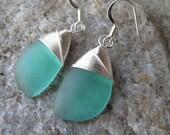 sea glass ear rings cultured seaglass minty green colored beach glass jewelry  earrings-bridesmaid earrings- teardrop  earrings