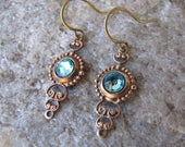 Light Turquoise earrings Brass filigree antique brass glass cabachon tiny light weight earrings