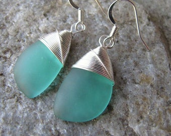 sea glass earrings cultured seaglass mint green colored beach glass jewelry  earrings-bridesmaid earrings- teardrop  earrings