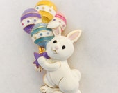 "CLEARANCE Easter Bunny Pin with Balloons 1 3/4"" x 1 1/4"" Enamel Great Finishing Piece for Hat Purse Tote Scarf Outfit or Wedding Bouquet"