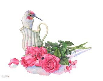 Hummingbird with roses print, hummingbird watercolor, HR15016, Romantic watercolor print, 5 by 7 print, rose watercolour print