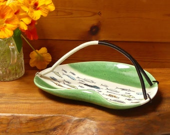 Vintage Mid Century Atomic Era Stylised Fish Small Platter with Wrapped Plastic Handle
