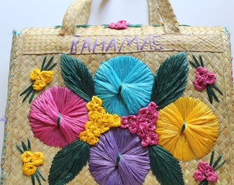 Vintage Bahamas Straw Raffia Floral Purse Tote Bag 1970s
